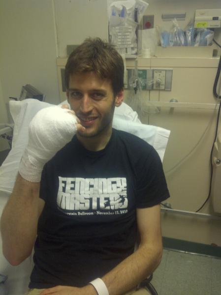 Jaime Marti had a sabre blade go through his hand.  Photo: Tim Morehouse.