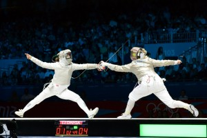 Mariel Zagunis (right) in action at the 2012 London Olympics. Photo C.Harkins