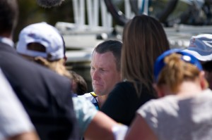 Lance Armstrong facing the media