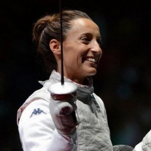 Di Francisca (ITA) failed to medal in the individual, but fenced for gold in the team event.