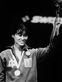 Jujie Luan won China's first fencing gold in 1984. In 2008 at the age of 50 she could still kick your butt.