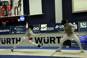 Nzingha Prescod (USA), right, placed in the top 8. Photo FencingPhotos.com