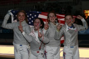 The US women's sabre girls take the last title of the 2013 Junior and Cadet world championships. Photo S.Timacheff/FencingPhotos.com