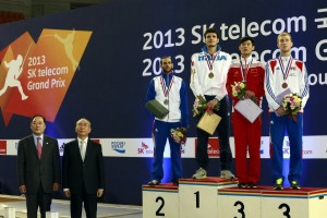 Congratulations to medalists Andrea Cassara (ITA - Gold), Erwan Le Pechoux (FRA - Silver), Li Hua (CHN - Bronze), and Julien Mertine (FRA - Bronze) at the 2013 SK Telecom Men's Foil World Cup in Seoul, Korea on Saturday. Photo:fencingphotos.com