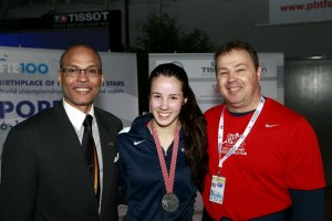 Sabrina Massialas claimed silver. With Greg Massialas and Donald Anthony. Photo ©2013 S.Timacheff/FencingPhotos.com