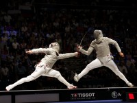 Men's sabre competition at the 2013 Budapest World Championships.
