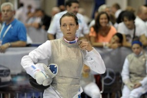 Valentina Vezzali fencing at the 2013 World Championships