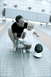 Sherraine Schalm has retired from competitive fencing but daughter Gaia has an early start. (Photo via Canadian Fencing Federation.)