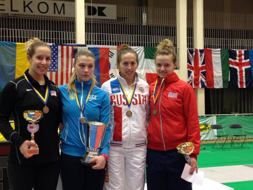 The USA placed 2 fencers on the podium in Women's Sabre as Mariel Zagunis took silver and Dagmara Wozniak bronze. (photo via Mariel Zagunis - Facebook)