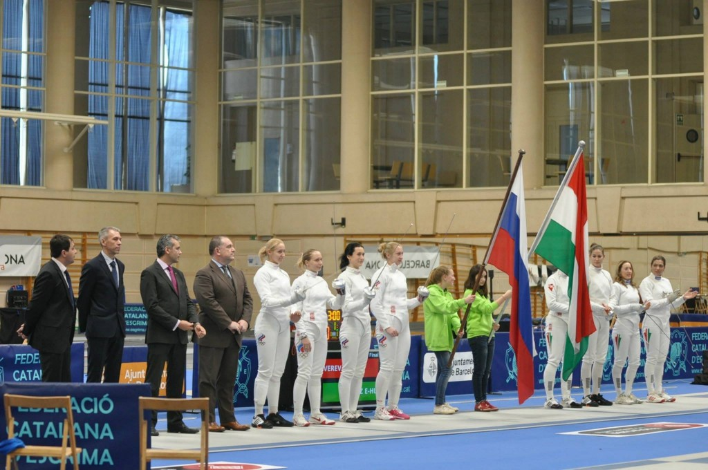 Russia and Hungary Teams Credit: Federació Catalana d'Esgrima