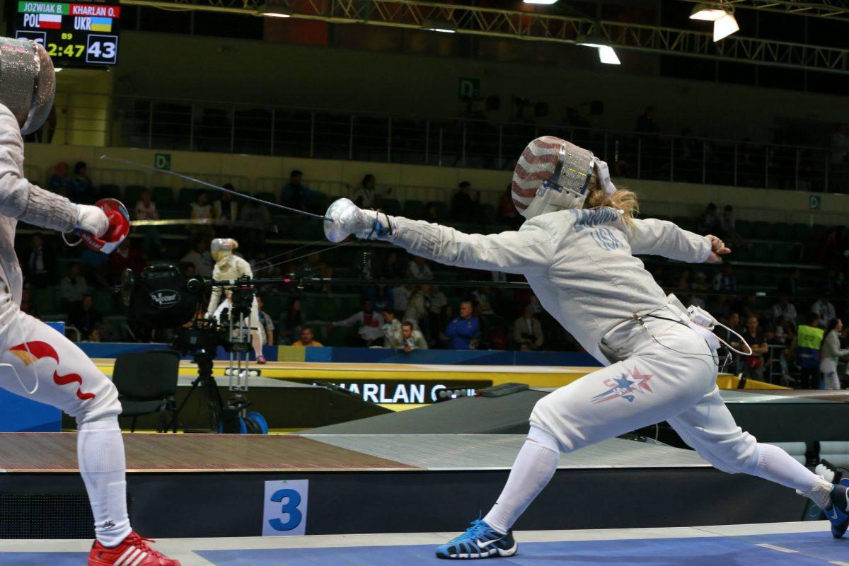 Mariel Zagunis fencing at 2014 World Championships Team Sabre event