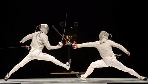 Gu fencing Dolniceanu in the finals via Yahoo News
