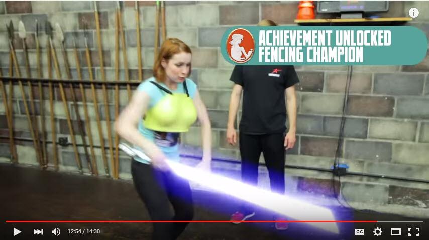 Felicia Day fencing at Swordplay LA