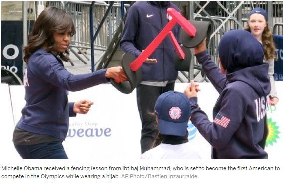 Michelle Obama took a fencing lesson from Ibtihaj Muhammad