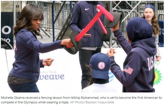 Michelle Obama took a fencing lesson from Ibtihaj Muhammad