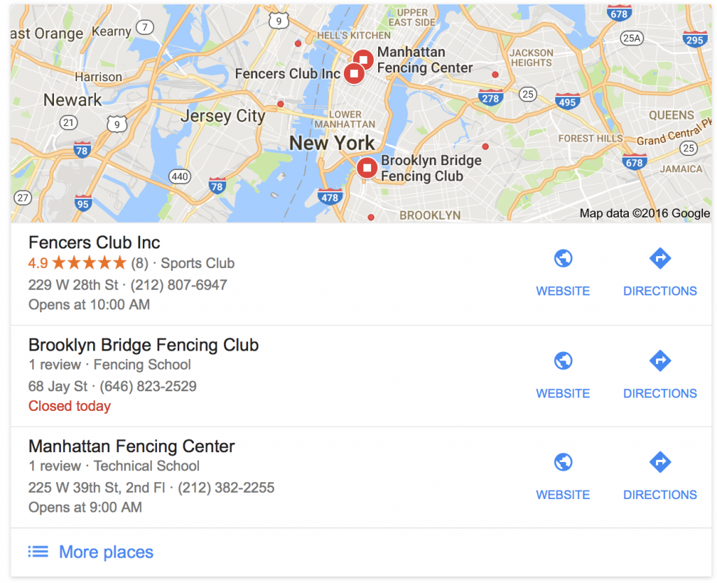 fencing clubs nyc maps pack