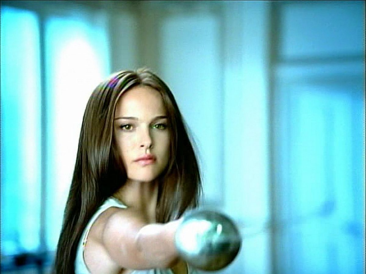 Natalie Portman with fencing foil