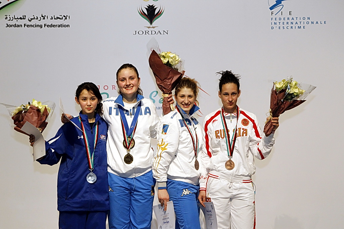 Lee Kiefer (left) won silver at the 2011 Cadet Women's Foil World Championships