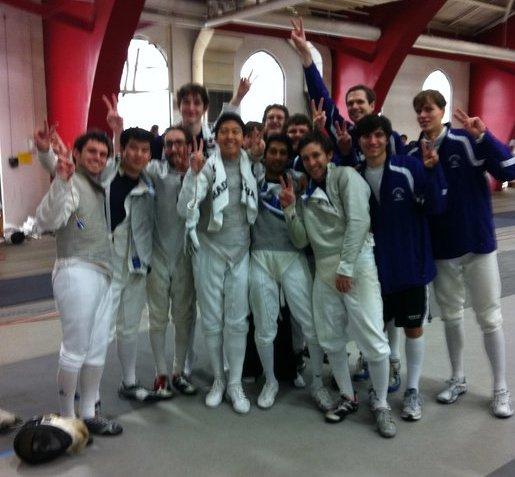 NU's Men's Fencing Team celebrates