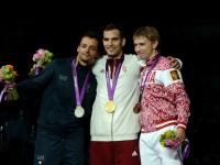 Diego Occhiuzzi (ITA), Aron Szilagyi (HUN), and Nikolay Kovalev (RUS) on the medal stand.