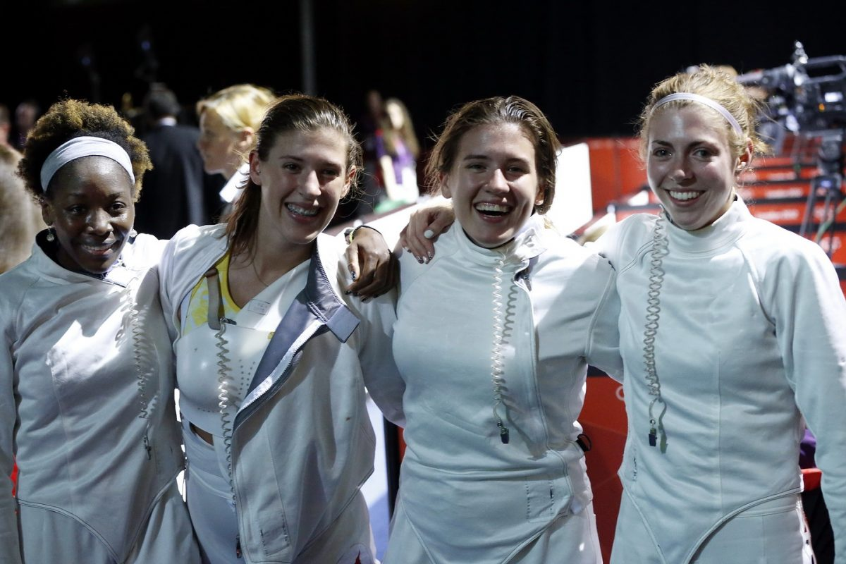 US Women's Epee Team on Winning a bronze medal in fencing