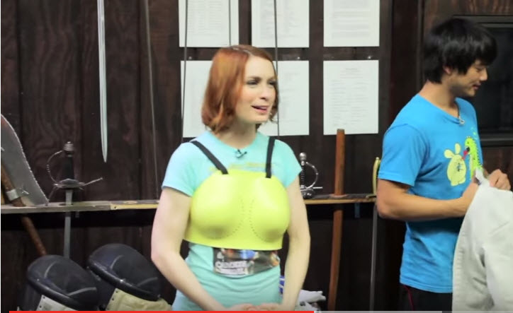 Felicia Day getting dressed for fencing
