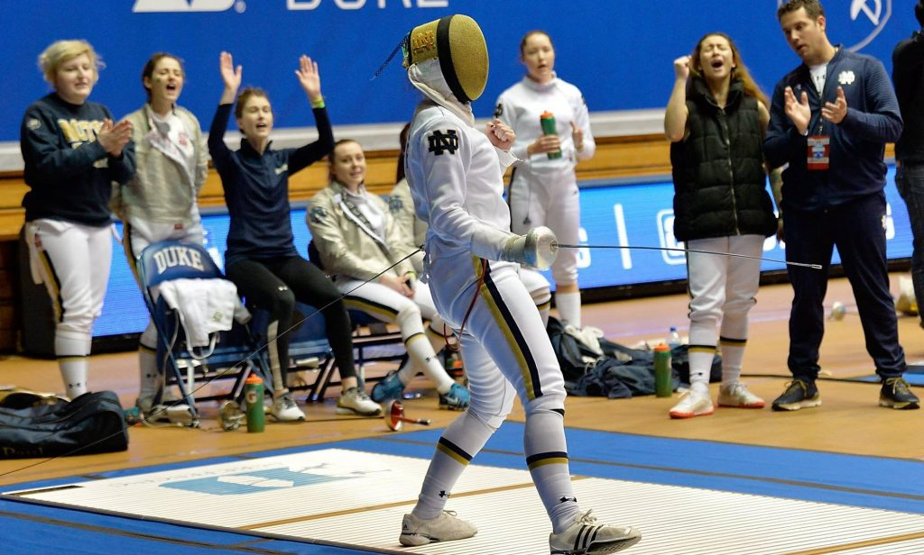 Notre Dame's Marie Ann Roche reacts to winning her epee bout at the ACC Men's and Women's Fencing Championships