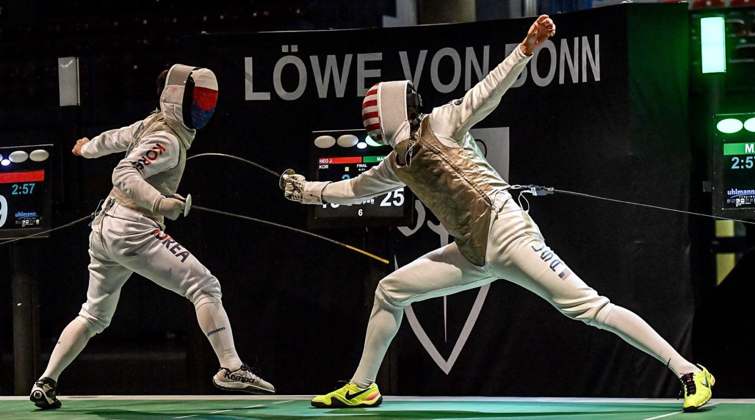 Korea vs USA; Bonn Men's Foil Finals; c/o FIE.org, Augusto Bizzi
